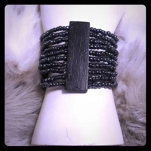 Black wood and gray glass bead cuff